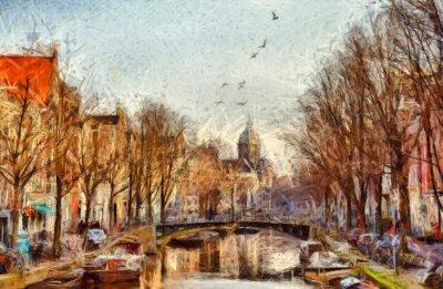 Canvastavlor Amsterdam kanal på morgonen impressionistisk målning