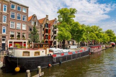 Canvastavlor Amsterdams kanaler och båtar, Holland, Nederländerna.