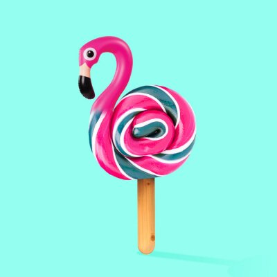 Canvastavlor An alternative sweets. Candy as a flamingo on the wooden stick on blue background. Negative space to insert your text. Modern design. Contemporary art. Creative conceptual and colorful collage.