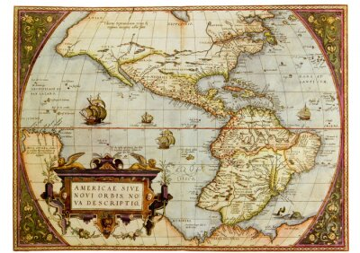Canvastavlor Ancient karta över Amerika. Foto från gamla reproduktion