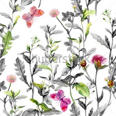 Canvastavlor Ängblommor, gräs, örter. Sömlös växtbaserad bakgrund i svartvita färger för modedesign. Vattenfärg
