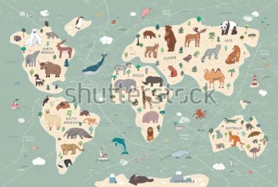 Canvastavlor Animals on world map illustrations  hand drawn vector set