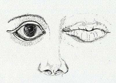 Canvastavlor Ansikte, konst metafor, skriva och bläckteckningen på papper textur