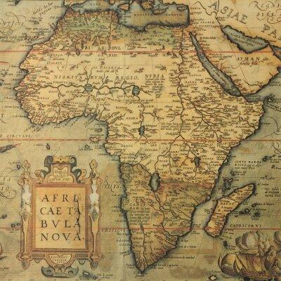 Canvastavlor antik karta karta över Afrika från holländska cartographeren Abraham Ortelius