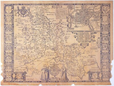 Canvastavlor Antik Oxfordshire karta