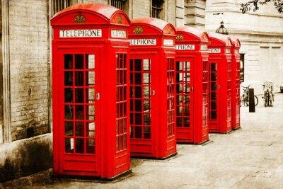 Canvastavlor antik texturiertes Bild roter Telefonzellen i London