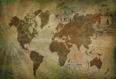 Canvastavlor antika världen resekartan
