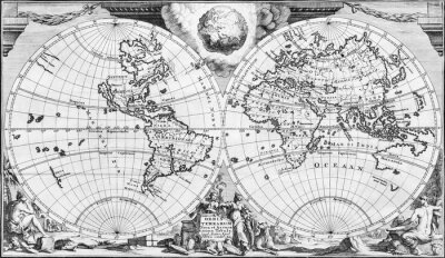 Canvastavlor Antique world map of the 18th century, in black and white