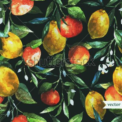 Canvastavlor apelsin, citron, akvarell, bakgrund, mörk, mönster