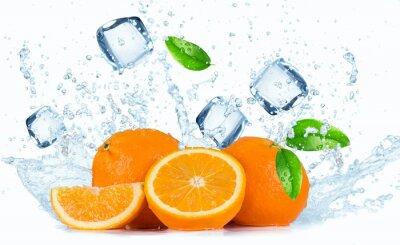 Canvastavlor Apelsiner med vattenstänk