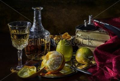 Canvastavlor Apelsiner, päron och torkade aprikoser