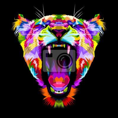 Canvastavlor arg färgglada lejon på popkonst stil