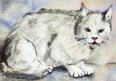 Canvastavlor Arg grå katt. Den badda teknik nära kanterna ger en mjuk fokus effekt på grund av den förändrade ytjämnhet av papperet.