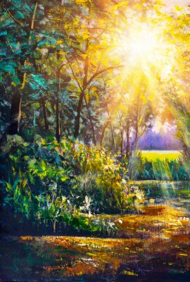 Canvastavlor Art painting Scenic forest of fresh green deciduous trees framed by leaves, with sun casting its warm rays through foliage
