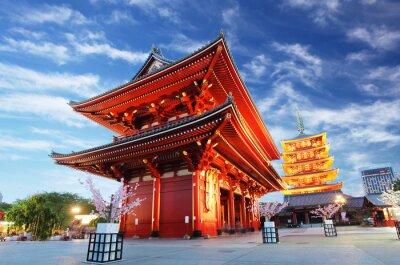 Canvastavlor Asakusa tempel med pagod på natten, Tokyo, Japan