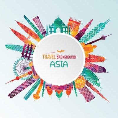 Canvastavlor Asien detaljerad silhuett. vektor