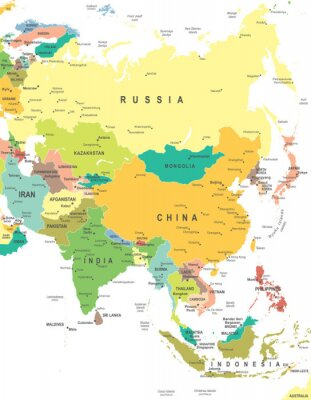 Canvastavlor Asien - karta - illustration. Asien karta - mycket detaljerade vektorillustration.