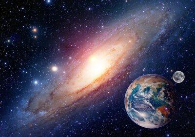 Canvastavlor Astrologi astronomi jord månen utrymme big bang solsystem planet skapas. Delar av denna bild som tillhandahålls av NASA.