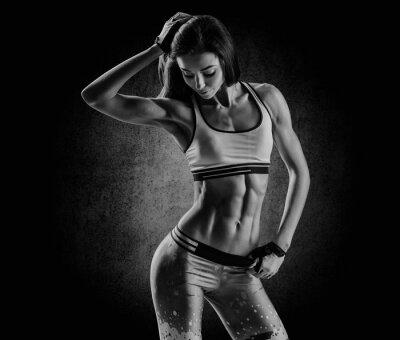 Canvastavlor attraktiv fitness kvinna, utbildad kvinnliga kroppen, livsstil portrai