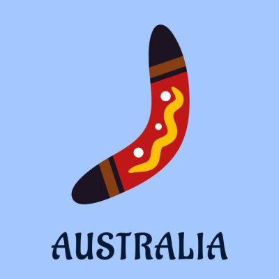 Canvastavlor Australian National isolerade färgrik bumerang