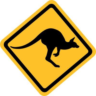 Canvastavlor Australien känguru tecken