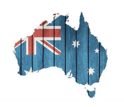 Canvastavlor Australiskt Karta med trä flagga