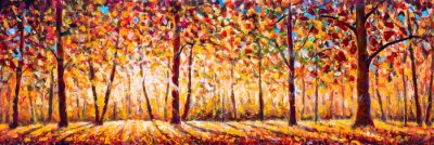 Canvastavlor Autumn  panorama Original oil painting on canvassunny park with red golden trees and meadow , natural seasonal background Original oil painting on canvas