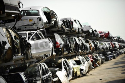 Canvastavlor Avbrutna fordon ses i en biljocklek