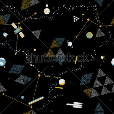Canvastavlor Baby sömlösa mönster - rymd, rymdskepp och planeter med stjärnor. Trendiga ungar vektor bakgrund.