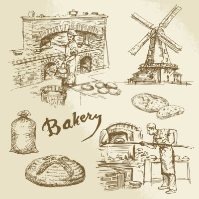 Canvastavlor bagare, bageri, bröd