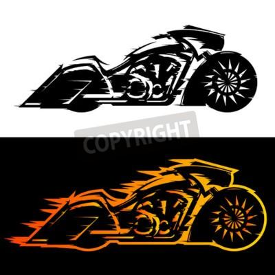 Canvastavlor Bagger stil motorcykel vektor illustration, Baggers anpassad motorcykel täckt av flammor