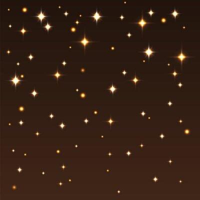 Canvastavlor Bakgrund med blanka stjärnor i den mörka himlen