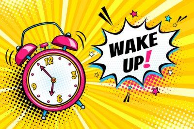 Canvastavlor Bakgrund med komisk väckarklocka och uttrycksbubbla med vakna text. Vektor ljus dynamisk tecknad illustration i retro popkonst stil på halvton bakgrund.