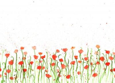 Canvastavlor Bakgrund med vattenfärg handen ritning röd vallmo på vitt. Sömlös banderoll med blommor. Handmålning färgkopia utrymme gränsen.
