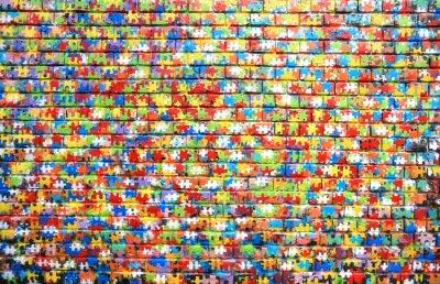 Canvastavlor Bakgrundsfärg gata graffiti på en tegelvägg