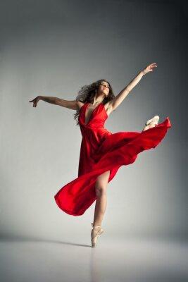 Canvastavlor Balettdansös bär röd klänning över grå