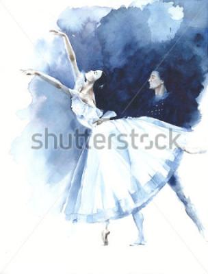Canvastavlor Ballerina dans ballettdansare Giselle vattenfärg målning illustration hälsningskort