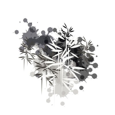 Canvastavlor bamboo forest illustration in black ink