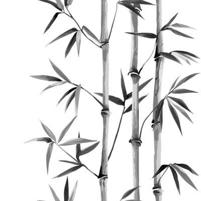 Canvastavlor Bamboo Seamless Vertical Border on white background