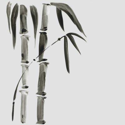 Canvastavlor Bambu i japansk målningstil. Traditionell Vacker akvarell handgjord illustration