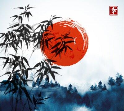 Canvastavlor Bambu träd, skog i dimma och stor röd sol hand dras med bläck. Traditionell orientalisk bläckmålning sumi-e, u-synd, go-hua. Innehåller hieroglyph - lycka.