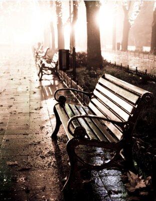 Canvastavlor Bänk i natt gränd med ljus i Odessa,