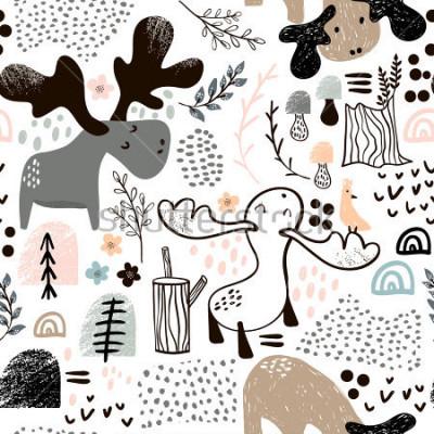 Canvastavlor Barnligt sömlöst mönster med älkar i trä och abstrakta former. Trendig scandinavian vektor bakgrund. Perfekt för barnkläder, tyg, textilier, plantskola, inslagspapper
