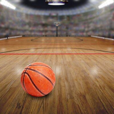 Canvastavlor Basket Arena med boll på domstolen och Textutrymme. Framfört i Photoshop.