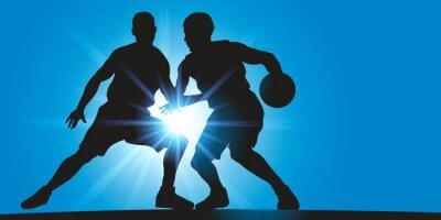 Canvastavlor Basket - Dribbla - rayon lumineux