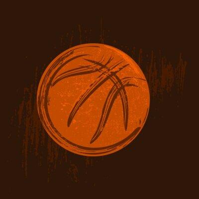 Canvastavlor basket symbol teckning med svarta linjer mörk bakgrund
