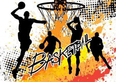 Canvastavlor basketspelare team på vit grunge bakgrund