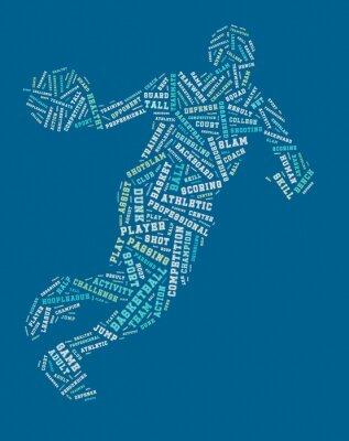 Canvastavlor Basketspelare uttrycka molnet, basket typografi bakgrund