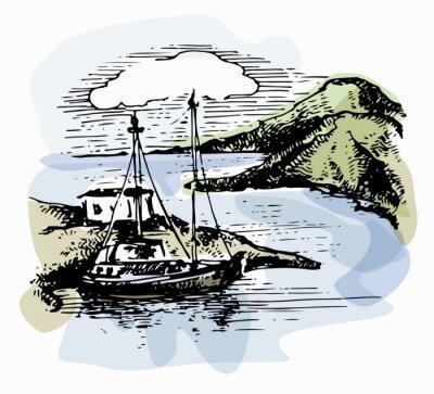 Canvastavlor Båten på vågorna nära stranden. Yacht illustration. Strandutsikt. Akvarell landskap. Vektor illustration