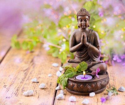 Canvastavlor Be Buddha med ljus och lavendel